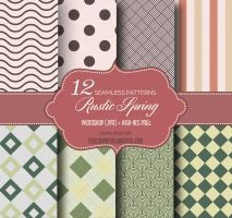 Rustic Spring Seamless Patterns by fiftyfivepixels