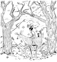 Deer and girl by angeldevilland