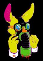 Yellow Bunny Rabbits Don't Like Gas Masks by AnzennaArtz