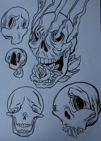Tattoo Flash-Skulls by lickingstitches