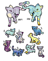 Kitty Family Adoptable [OPEN 7/10] by Gabrielle-adopties