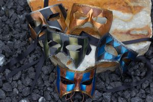 Harlequin and Masquerade Leather Masks by OsborneArts