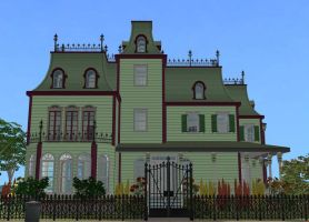 Sims 2 Green Victorian Mansion by RamboRocky