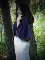stock medieval woman hooded cape by Angiepureheart