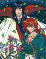 Kenshin and Hiko Hiten Dragons by equigoyle