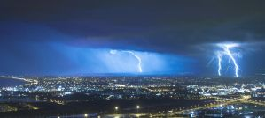 Lightning Touching Haifa by ori97