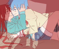 kyouko and sayaka by Dankoballs
