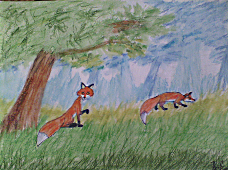 Two foxes in the forest by OraTheRebelKitsune
