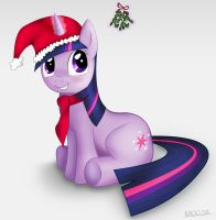 Twilight Sparkle under mistletoe by Neroq