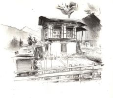 Asian House by Juhupainting