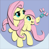 Shadowbox Mock-up:  Fluttershy + Filly FLuttershy by The-Paper-Pony