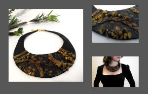 Leather necklace. Inlay by julishland