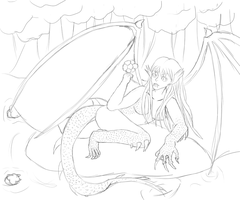 Dragon Lady WIP sketch by Rainydaysmiles