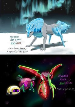 Fakemon Ice wolf and Blood Mosquito. by pablog143
