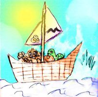 Musteche turtle and monkey on boat with cookie by Rini-Dragoone