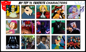 My Top 15 Favorite Characters by 4xEyes1987