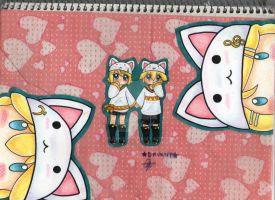 Vocaloid- Kagamine Twins Toeto by Drunny