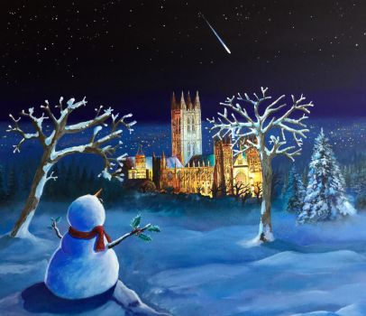 Canterbury cathedral snowman by artchby