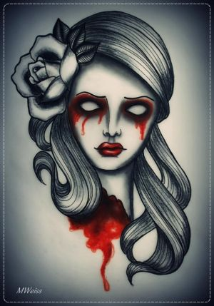 dead head with rose tattoo flash