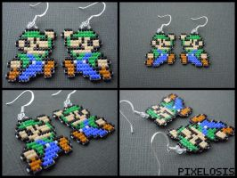 Handmade Seed Bead Luigi Earrings by Pixelosis