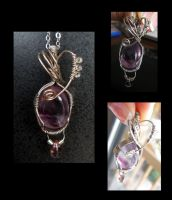 Wire Wrapped Amethyst Pendant by teuf-eL