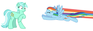 Rainbow Dash charging Lyra by Tassadoul