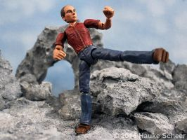 Portrait Figure 3D printed kicking pose by hauke3000
