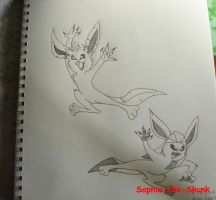 Leafeon and Glaceon by Sophie-The-Skunk
