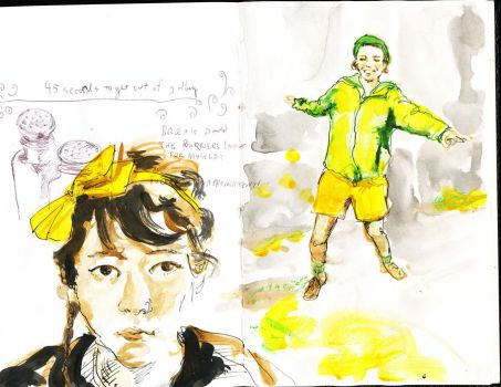 sketchbook me and Tilly by spacecraft