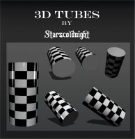 3D black white tubes by starscoldnight by StarsColdNight