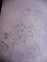 Justice League of America pin up, WIP by aethibert