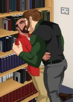 Kissing in the library stacks by DaleLaz