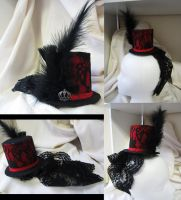 Black and Red mini top hat by MelissaRTurner