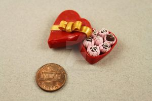 Miniature Heart Shaped Box of Chocolates by BeautifulEarthStudio