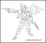 Boba Fett Outlines by metdude