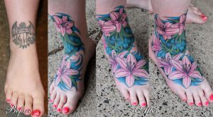 Floral coverup tattoo by danktat
