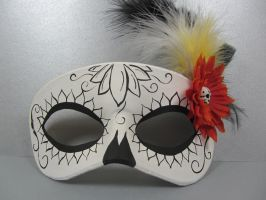 Day of the Dead Orange flower masquerade mask by maskedzone