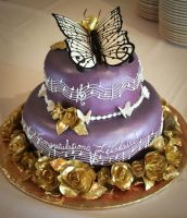 Monarchs and Melody Graduation Cake by TubaQueen