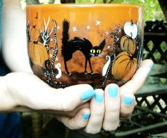 Halloween Mug - Handpainted 22-Ounce latte/soup by InkyDreamz