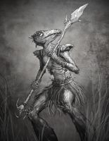 Lovecraft: Lizard Man Painting by GraphicGeek