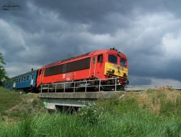 Diesel loco on the bridge by morpheus880223