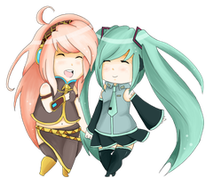 Vocaloid: Miku and Luka by wolfsbaane