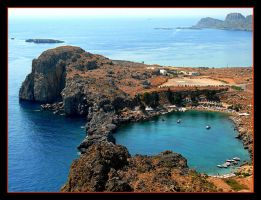 View From Akropol - Lindos by skarzynscy