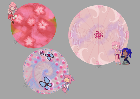 Pokimono Umbrellas for Pink Cuties by Behind-My-Eyes