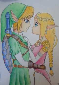 Link and Zelda in love by Gwenou44-IceWolf