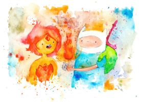 Finn and Flame Princess by drawingsbynicole
