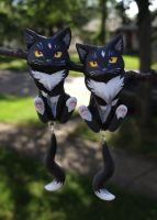 Black Cat Dangle Earrings by Gatobob