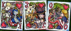 Wonderland Three Face Cards by jbrenthill