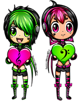 A Chibi Neon Love Melody by padfootlet