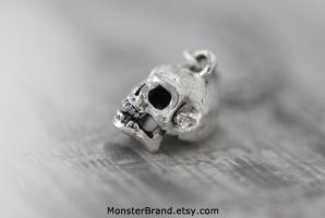 Super Tiny Silver Skull Necklace by MonsterBrandCrafts
